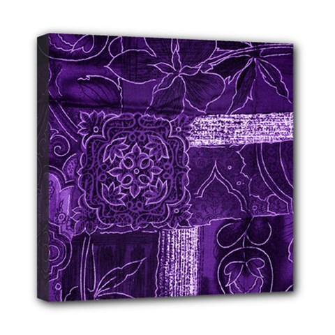 Pretty Purple Patchwork Mini Canvas 8  X 8  (framed) by FunWithFibro