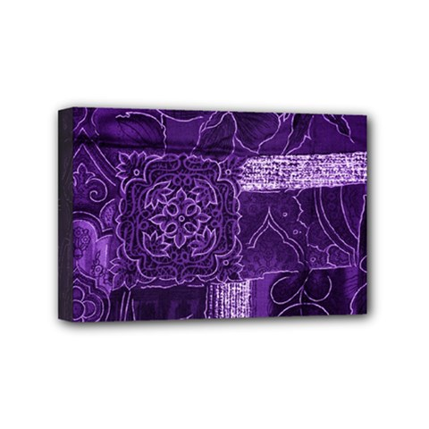 Pretty Purple Patchwork Mini Canvas 6  X 4  (framed) by FunWithFibro