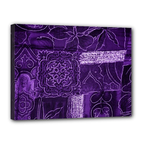 Pretty Purple Patchwork Canvas 16  X 12  (framed) by FunWithFibro