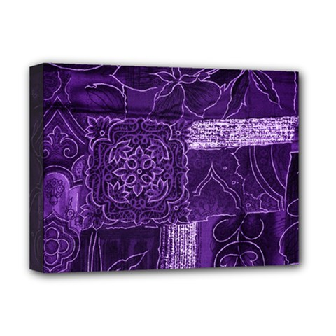 Pretty Purple Patchwork Deluxe Canvas 16  X 12  (framed)  by FunWithFibro