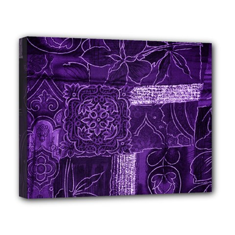 Pretty Purple Patchwork Deluxe Canvas 20  X 16  (framed) by FunWithFibro