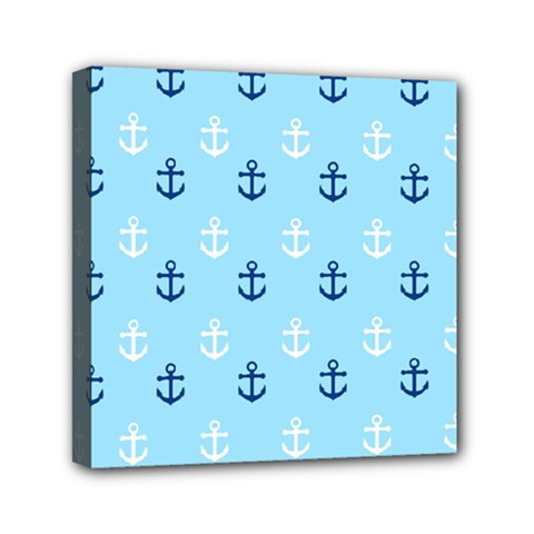 Anchors In Blue And White Mini Canvas 6  X 6  (framed) by StuffOrSomething