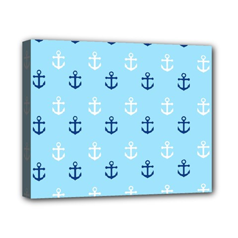 Anchors In Blue And White Canvas 10  X 8  (framed) by StuffOrSomething