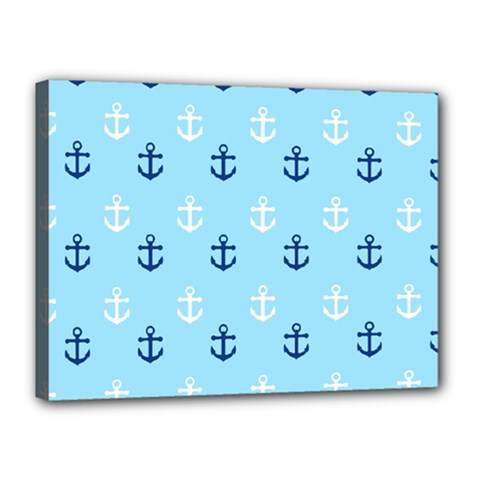 Anchors In Blue And White Canvas 16  X 12  (framed) by StuffOrSomething