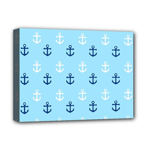 Anchors In Blue And White Deluxe Canvas 16  X 12  (framed)