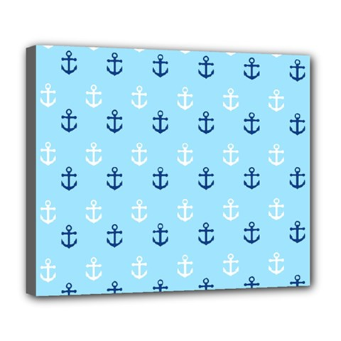 Anchors In Blue And White Deluxe Canvas 24  X 20  (framed) by StuffOrSomething