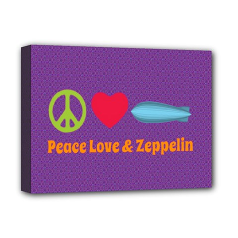 Peace Love & Zeppelin Deluxe Canvas 16  X 12  (framed)