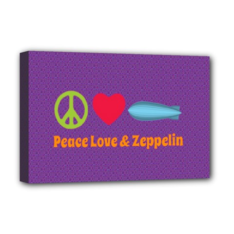 Peace Love & Zeppelin Deluxe Canvas 18  X 12  (framed) by SaraThePixelPixie