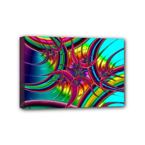 Abstract Neon Fractal Rainbows Mini Canvas 6  X 4  (framed) by StuffOrSomething