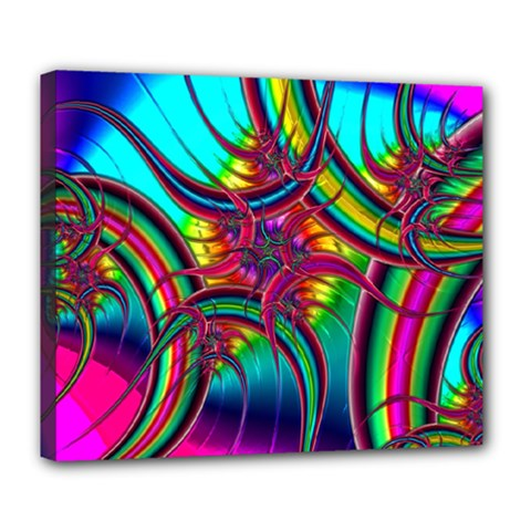 Abstract Neon Fractal Rainbows Deluxe Canvas 24  X 20  (framed)