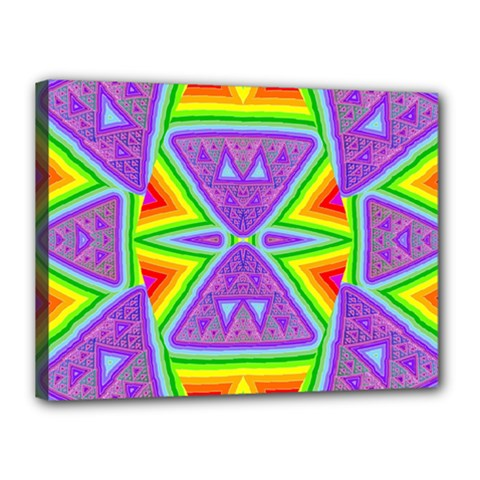 Trippy Rainbow Triangles Canvas 16  X 12  (framed) by SaraThePixelPixie