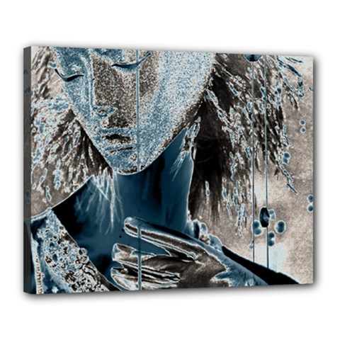 Feeling Blue Canvas 20  X 16  (framed) by FunWithFibro