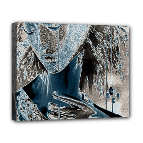 Feeling Blue Deluxe Canvas 20  X 16  (framed) by FunWithFibro