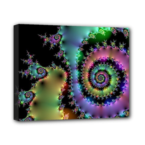 Satin Rainbow, Spiral Curves Through The Cosmos Canvas 10  X 8  (framed) by DianeClancy