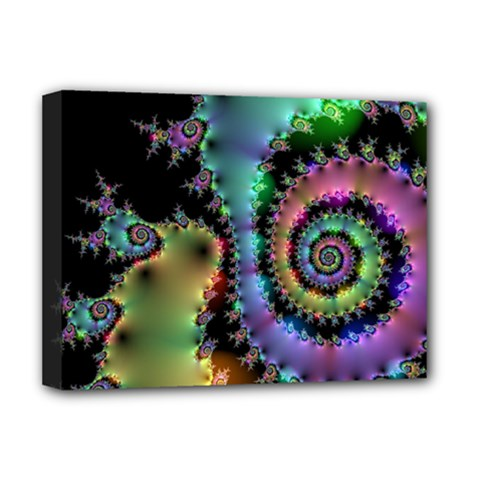 Satin Rainbow, Spiral Curves Through The Cosmos Deluxe Canvas 16  X 12  (framed)  by DianeClancy
