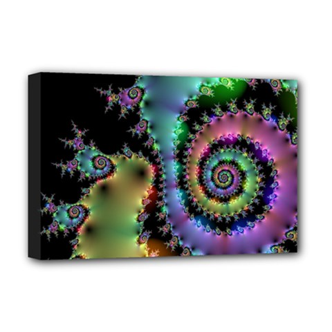 Satin Rainbow, Spiral Curves Through The Cosmos Deluxe Canvas 18  X 12  (framed) by DianeClancy