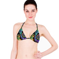 Satin Rainbow, Spiral Curves Through The Cosmos Bikini Top by DianeClancy