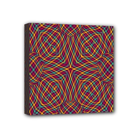Trippy Tartan Mini Canvas 4  X 4  (framed) by SaraThePixelPixie