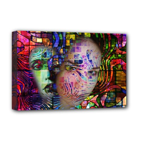 Artistic Confusion Of Brain Fog Deluxe Canvas 18  X 12  (framed) by FunWithFibro