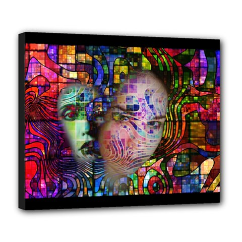 Artistic Confusion Of Brain Fog Deluxe Canvas 24  X 20  (framed) by FunWithFibro