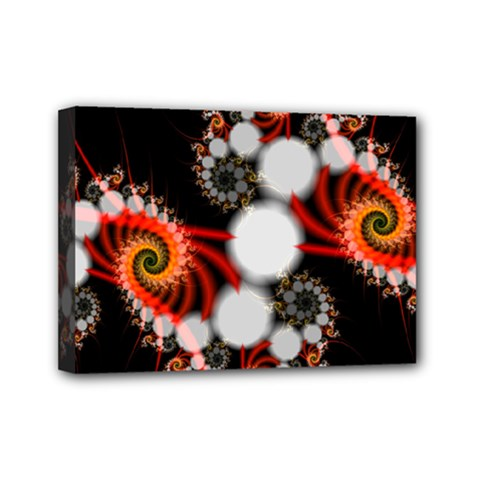 Mysterious Dance In Orange, Gold, White In Joy Mini Canvas 7  X 5  (framed) by DianeClancy