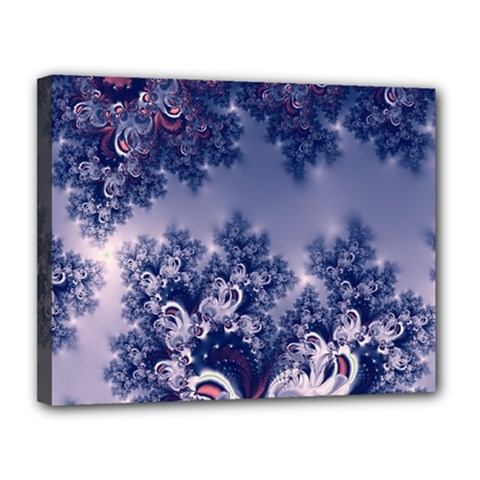 Pink And Blue Morning Frost Fractal Canvas 14  X 11  (framed)