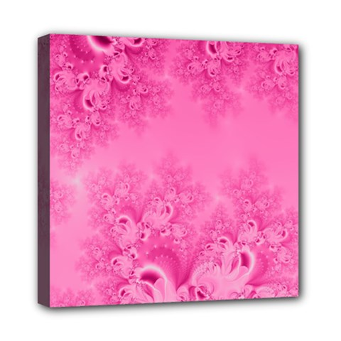 Soft Pink Frost Of Morning Fractal Mini Canvas 8  X 8  (framed) by Artist4God