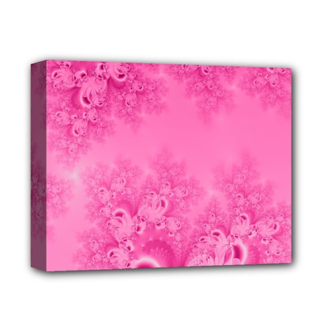 Soft Pink Frost Of Morning Fractal Deluxe Canvas 14  X 11  (framed) by Artist4God