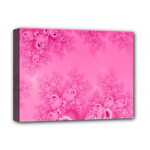 Soft Pink Frost Of Morning Fractal Deluxe Canvas 16  X 12  (framed)  by Artist4God