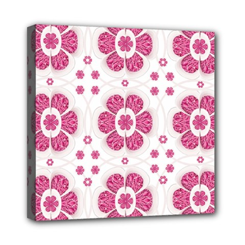 Sweety Pink Floral Pattern Mini Canvas 8  X 8  (framed) by dflcprints