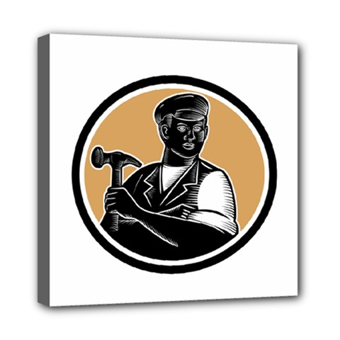 Carpenter Holding Hammer Woodcut Mini Canvas 8  X 8  (framed) by retrovectors