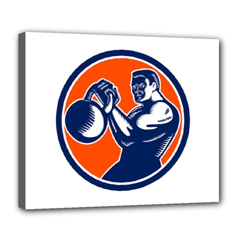 Bodybuilder Lifting Kettlebell Woodcut Deluxe Canvas 24  X 20  (framed) by retrovectors