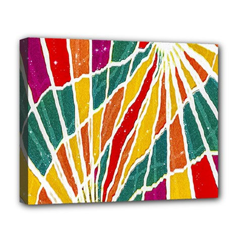 Multicolored Vibrations Deluxe Canvas 20  X 16  (framed) by dflcprints
