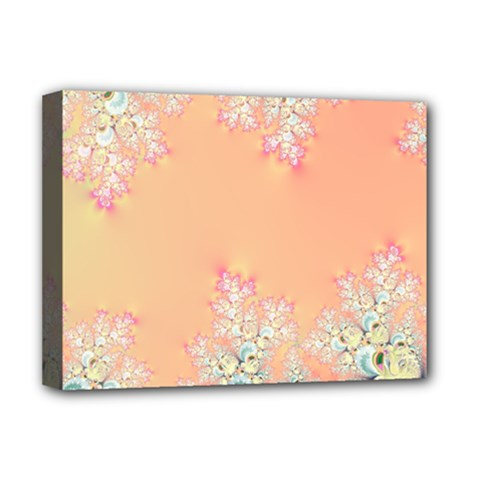 Peach Spring Frost On Flowers Fractal Deluxe Canvas 16  X 12  (framed)  by Artist4God