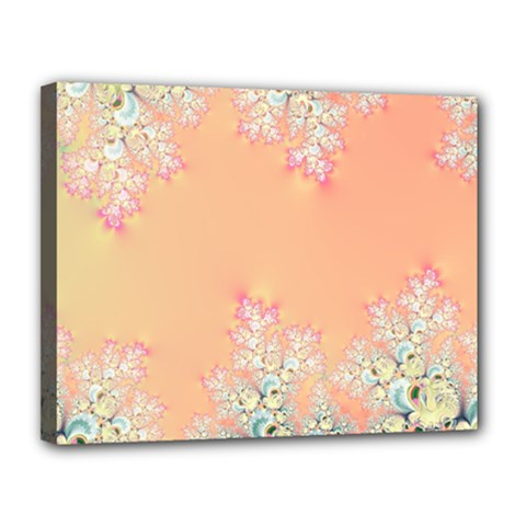 Peach Spring Frost On Flowers Fractal Canvas 14  X 11  (framed)