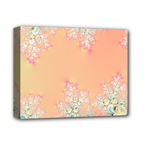 Peach Spring Frost On Flowers Fractal Deluxe Canvas 14  X 11  (framed) by Artist4God