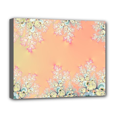 Peach Spring Frost On Flowers Fractal Deluxe Canvas 20  X 16  (framed) by Artist4God