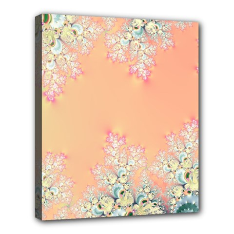 Peach Spring Frost On Flowers Fractal Deluxe Canvas 24  X 20  (framed) by Artist4God