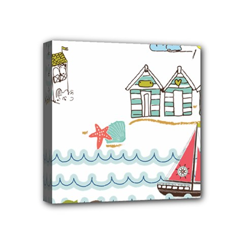 Summer Holiday Mini Canvas 4  X 4  (framed) by whitemagnolia