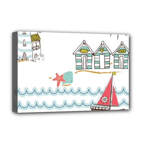 Summer Holiday Deluxe Canvas 18  X 12  (framed) by whitemagnolia
