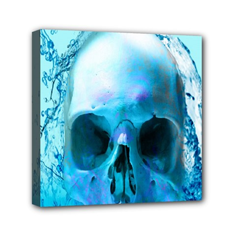 Skull In Water Mini Canvas 6  X 6  (framed) by icarusismartdesigns