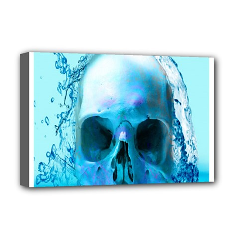Skull In Water Deluxe Canvas 18  X 12  (framed) by icarusismartdesigns