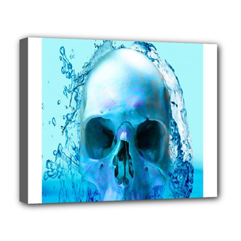 Skull In Water Deluxe Canvas 20  X 16  (framed) by icarusismartdesigns