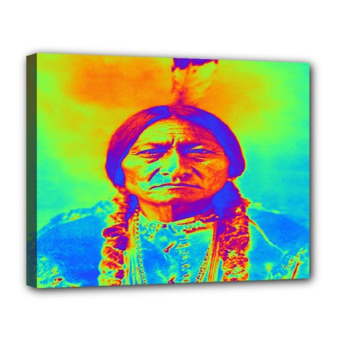 Sitting Bull Canvas 14  X 11  (framed) by icarusismartdesigns