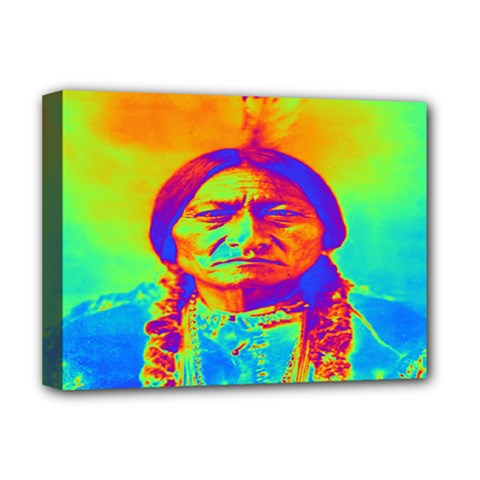 Sitting Bull Deluxe Canvas 16  X 12  (framed)  by icarusismartdesigns
