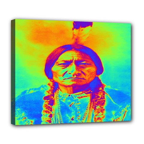 Sitting Bull Deluxe Canvas 24  X 20  (framed) by icarusismartdesigns