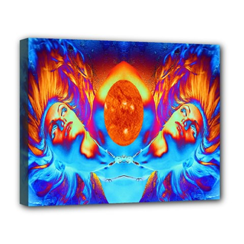 Escape From The Sun Deluxe Canvas 20  X 16  (framed) by icarusismartdesigns