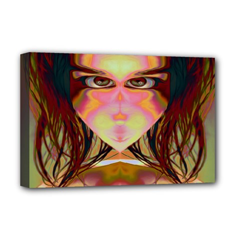 Cat Woman Deluxe Canvas 18  X 12  (framed) by icarusismartdesigns