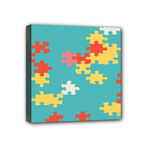 Puzzle Pieces Mini Canvas 4  X 4  (framed)