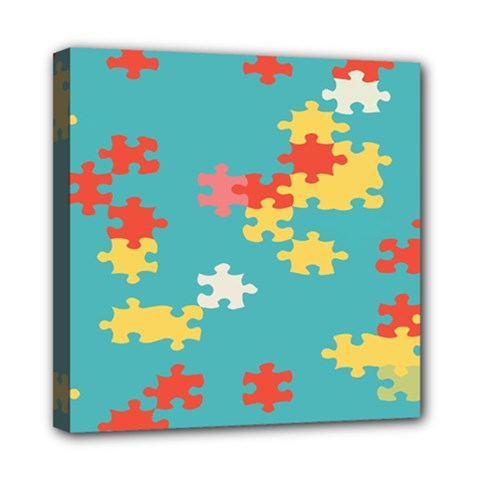 Puzzle Pieces Mini Canvas 8  X 8  (framed)